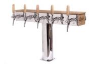 Výčepní stojan LINDR GRAND T dub se světelnou reklamou 5x kohout