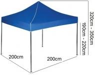 Nůžkový stan 2x2m EKSPAND modrý se 3 boky