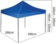 Nůžkový stan 3x3m EKSPAND modrý se 3 boky