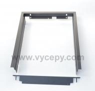 Černý kovový rámeček usnadňující upevnění vestavné chladničky Vitrifrigo C62, včetně šroubů.