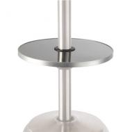 Výškově stavitelný nerezový stolek k topidlu Etna. Průměr 400mm (průměr vnitřního otvoru 57mm).