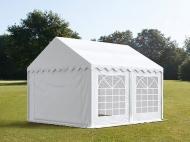 Prostorný párty stan STANDARD 4x4 m bílý se hodí na pořádání narozeninových oslav, svatebních hostin i společenských akcí konaných pod širým nebem.