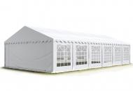 Bílý párty stan PREMIUM 4x12 m může sloužit jako bezpečné zázemí při pořádání soukromých i veřejných akcí pod širým nebem.