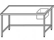 Výčepní stůl 180x70x90cm 1x dřez 40x34x25cm vpravo.