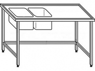 Výčepní stůl 240x70x90cm 2x dřez 40x34x25cm vlevo.