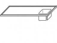 Výčepní deska 180x70x3,5cm 1x dřez 40x34x25cm vpravo.
