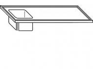 Výčepní deska 180x70x3,5cm 1x dřez 40x34x25cm vlevo.