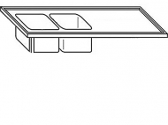 Deska 180x70x3,5cm 2x dřez vlevo