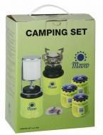 Camping set piezo vařič FOCUS + lampa DEDRA + 3 propichovací kartuše. Výhodná kempingová sada.