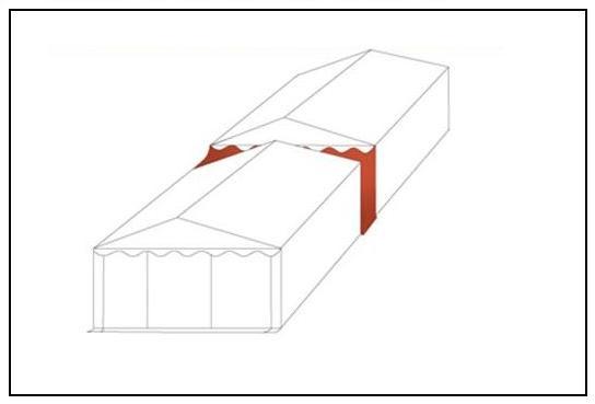 Párty stan 6x8m STANDARD červeno-bílý