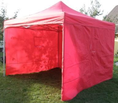 Nůžkový stan 3x3m DELUXE červený s boky